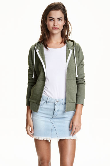 Hooded jacket - Khaki green - Ladies | H&M CN 1