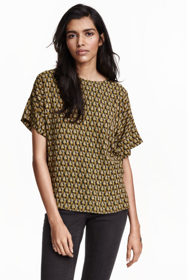 Printed blouse - Black/Yellow - Ladies | H&M CN 1