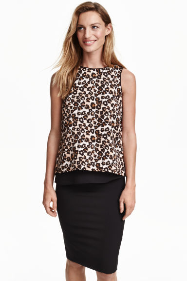 Sleeveless chiffon blouse - Leopard print - Ladies | H&M CN 1