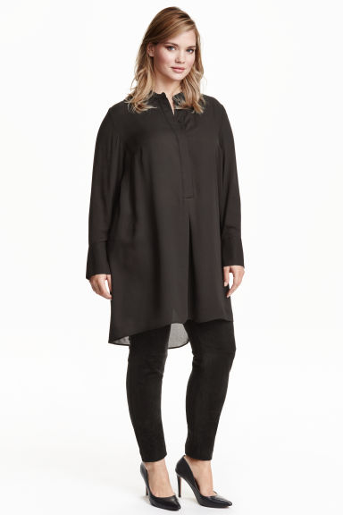 H&M+ Chiffon tunic - Black - Ladies | H&M GB 1