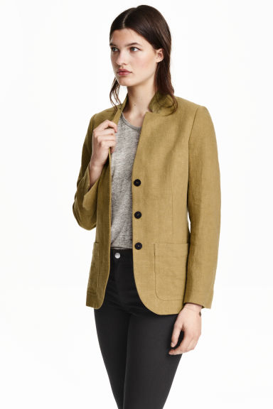 Jacket in a linen blend - Olive green - Ladies | H&M CN 1