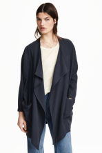 Draped lyocell-blend jacket - Dark blue - Ladies | H&M CN 1