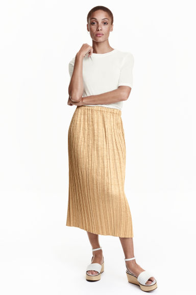 Pleated skirt - Gold - Ladies | H&M GB 1