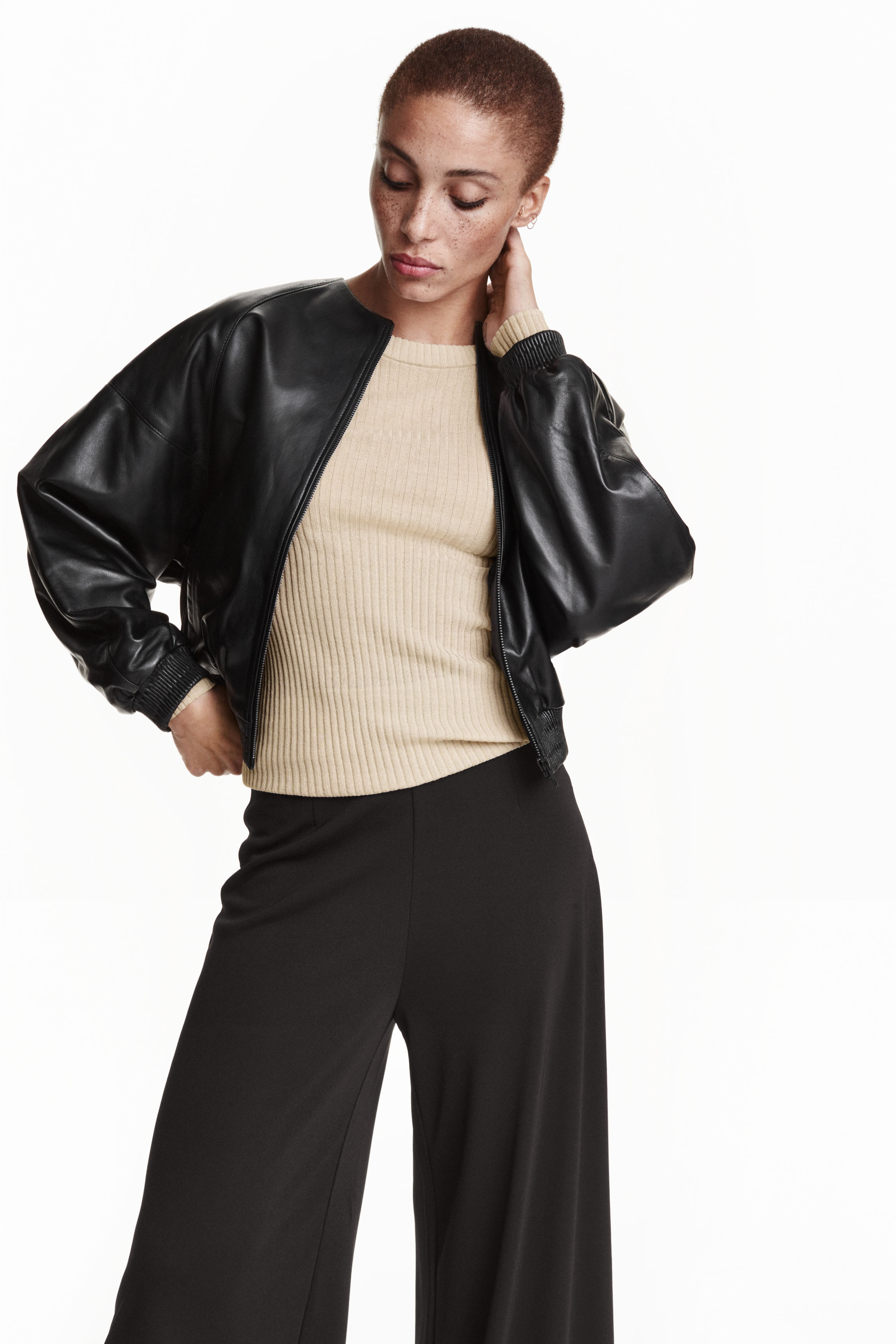 Leather bomber jacket - Black - Ladies | H&M GB