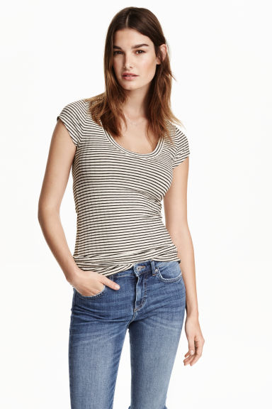 Ribbed jersey top - Natural white/Striped - Ladies | H&M CN 1