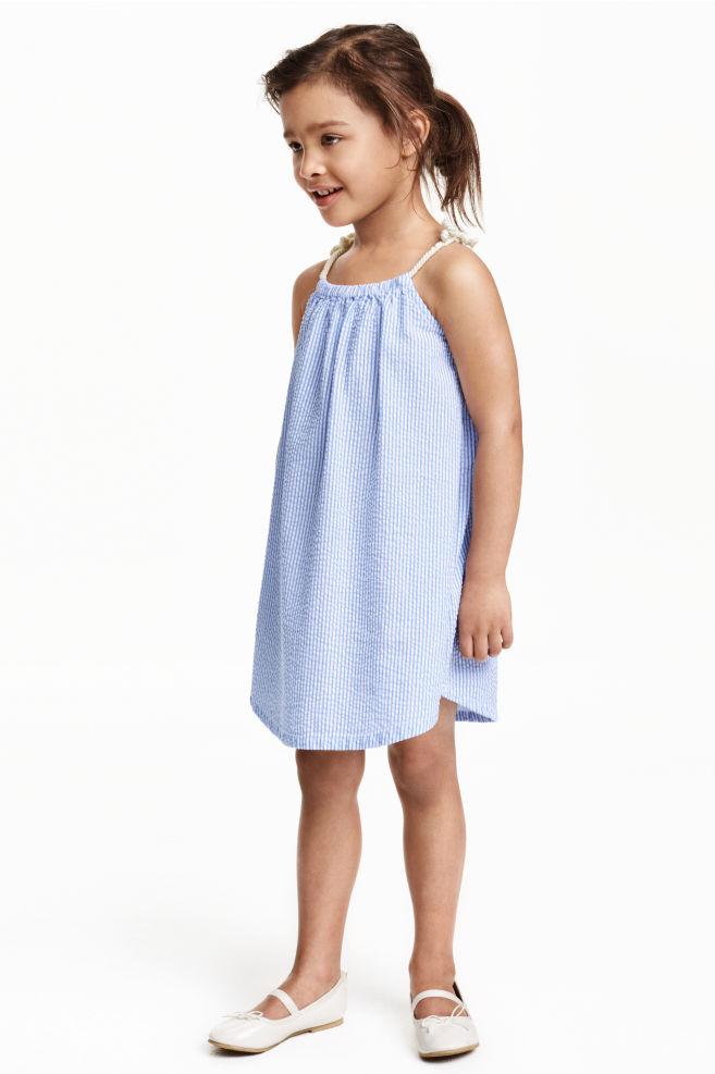 Seersucker dress - Light blue/Striped - | H&M GB