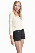 Fine-knit top with lacing - Natural white - Ladies | H&M CN 1