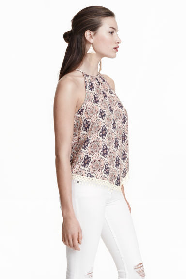 Patterned top - Natural white/Blue - Ladies | H&M CN