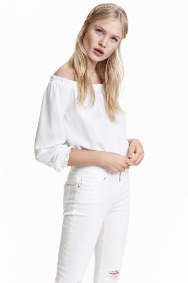 Short off-the-shoulder blouse - White - Ladies | H&M GB 1