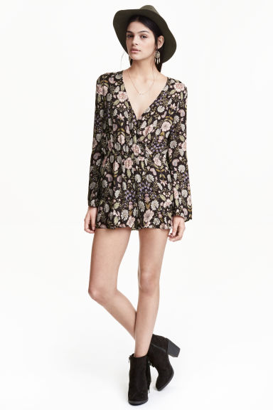 Patterned playsuit - Dark grey/Floral - Ladies | H&M GB 1