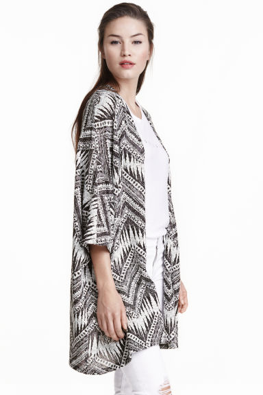 Pattern-knit cardigan - Black/White - Ladies | H&M CN 1