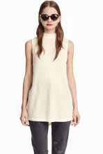 Fine-knit sleeveless top - Natural white - Ladies | H&M CN 1