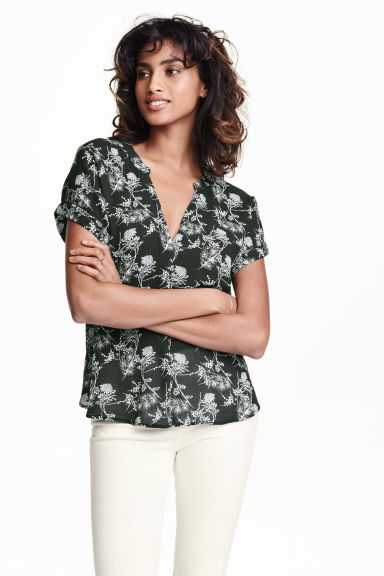 Patterned blouse - Dark green - Ladies | H&M CN 1