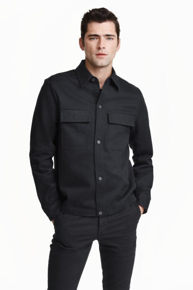 Cotton shirt jacket - Dark blue - Men | H&M GB