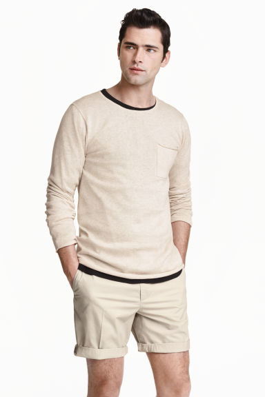 Cotton shorts Slim fit - Light beige - Men | H&M CN