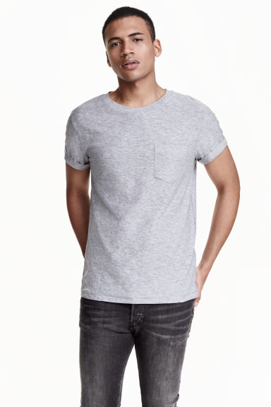 T-shirt with a chest pocket - Grey - Men | H&M CN 1
