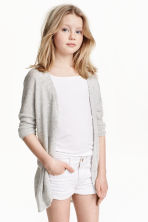 Fine-knit cardigan - Grey marl - Kids | H&M CN 1