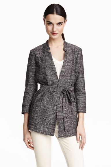Long jacket with a tie belt - Black marl - Ladies | H&M GB 1