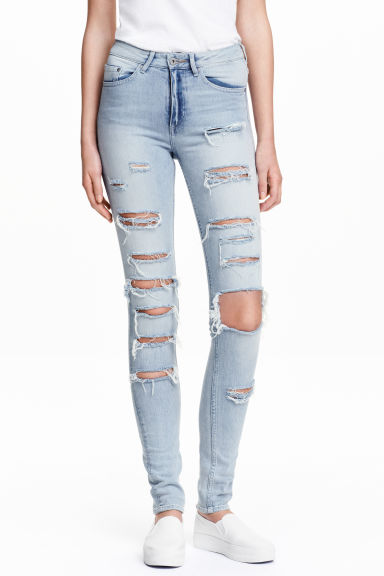 Skinny High Trashed Jeans - Light denim blue - Ladies | H&M CN 1