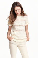 Top in cotton lace - Natural white - Ladies | H&M CN 1