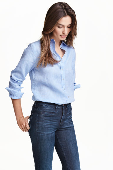 Linen shirt - Light blue - Ladies | H&M CN 1