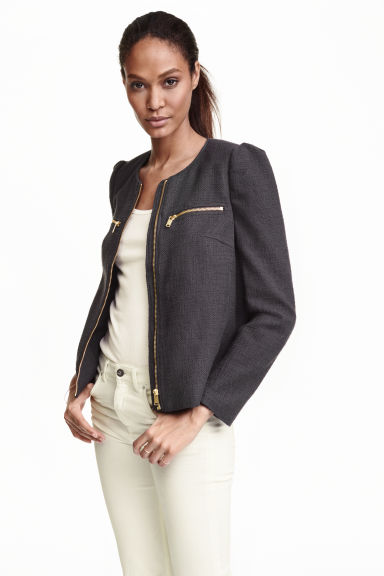 Textured jacket - Dark grey - Ladies | H&M CN 1