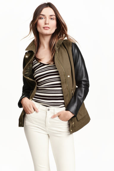 Cargo jacket - Khaki green/Black - Ladies | H&M CN 1