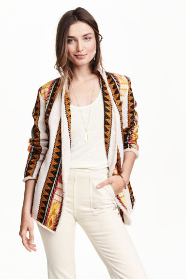 Jacquard-weave jacket - Light beige/Pattern - Ladies | H&M CN 1