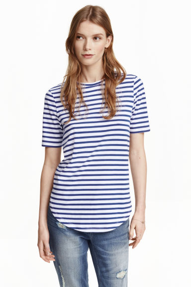 Jersey top - Dark blue/Striped - Ladies | H&M GB