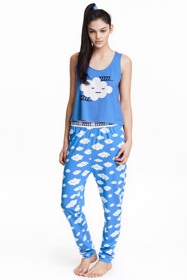 Jersey vest top pyjamas - Blue/Cloud - Ladies | H&M CN 1