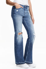Flare Regular Trashed Jeans - Denim blue - Ladies | H&M CN 1