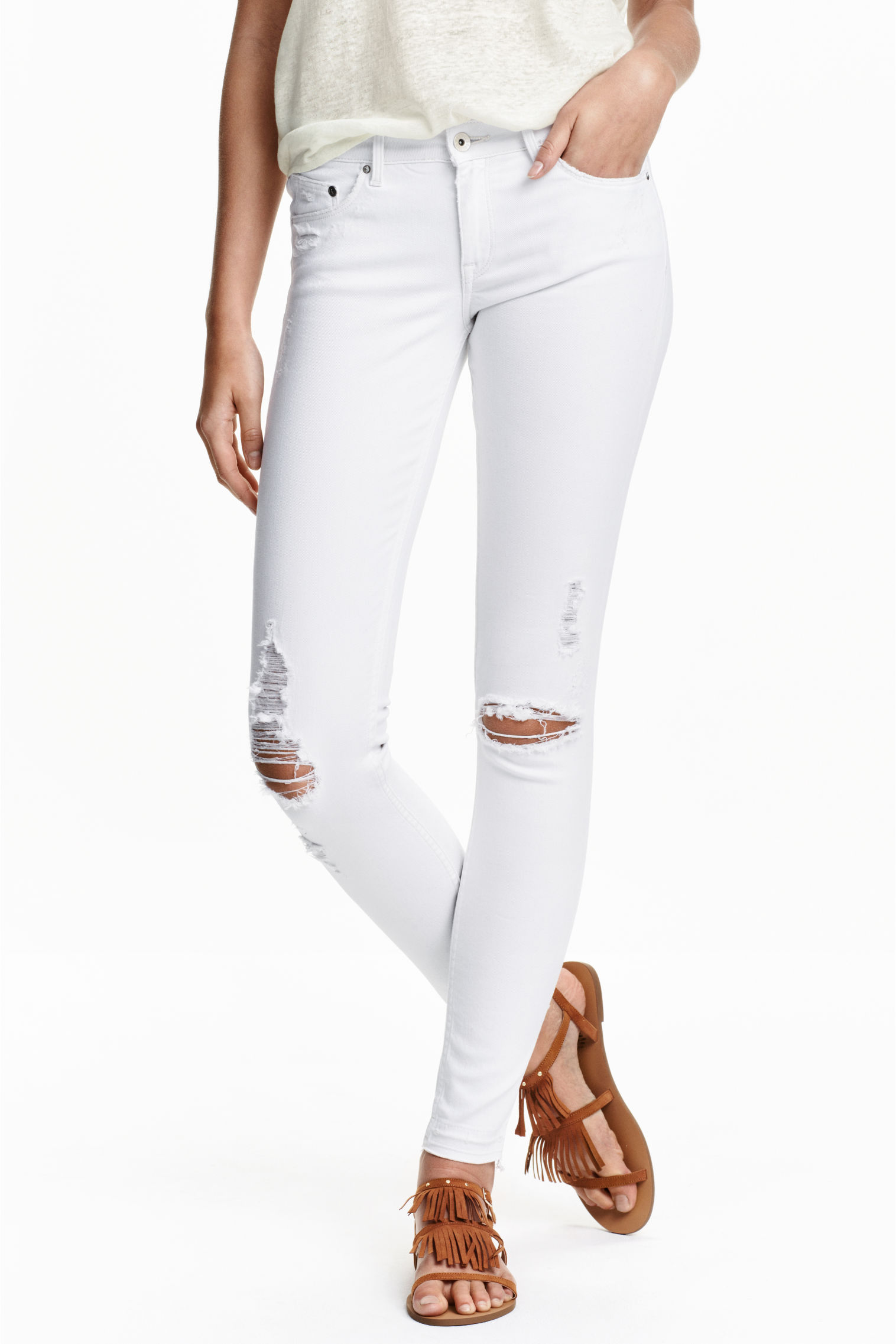 Super Skinny Low Ripped Jeans - Denim blue - Ladies | H&M GB