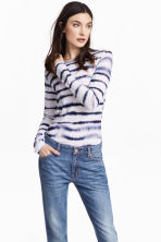 Long-sleeved jersey top - White/Blue pattern - Ladies | H&M CN 1