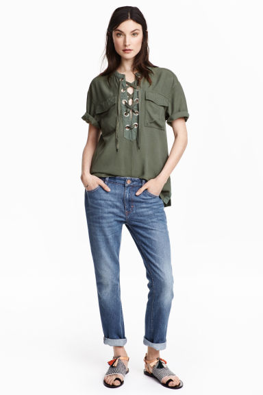 Straight Regular Ankle Jeans - 牛仔蓝 - 女士 | H&M CN 1