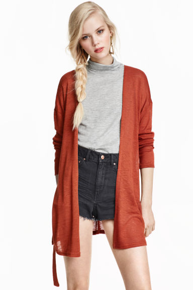 Cardigan with a tie belt - Rust - Ladies | H&M CN 1