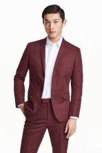 Linen-blend jacket Slim fit - Burgundy - Men | H&M CN 1