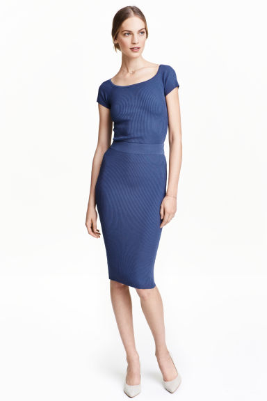 Ribbed skirt - Dark blue - Ladies | H&M CN 1