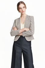 Textured jacket - Dark blue/Striped - Ladies | H&M CN 1