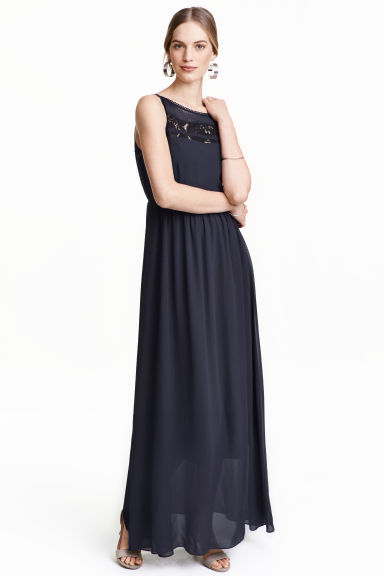 Chiffon dress with lace - Dark blue - Ladies | H&M CN 1