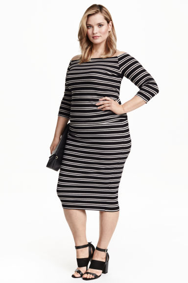 H&M+ Pencil skirt - Black/Striped - Ladies | H&M CN 1