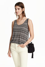 Patterned jersey vest top - Black/White - Ladies | H&M CN 1