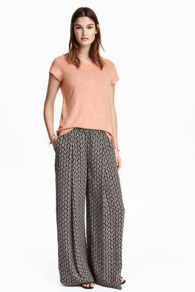 Pantaloni ampi - Nero/fantasia - DONNA | H&M IT