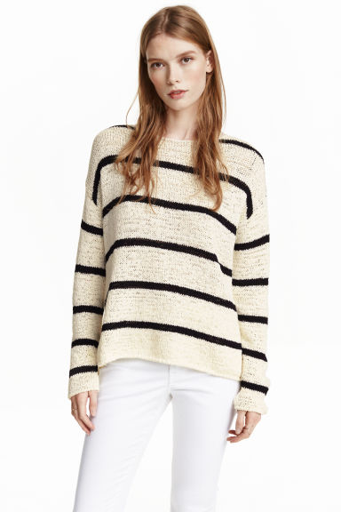Knitted jumper - Natural white/Striped - Ladies | H&M CN 1