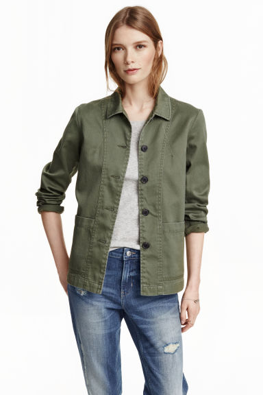 Twill jacket - Khaki green - Ladies | H&M CN 1