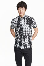 Short-sleeved cotton shirt - White/Patterned - Men | H&M CN 1
