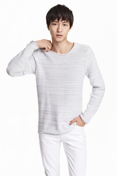 Purl-knit cotton jumper - Light grey marl - Men | H&M CN 1