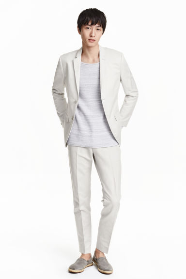Linen-blend suit trousers - Light grey - Men | H&M CN