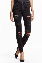 Skinny High Trashed Jeans - 黑色 - 女士 | H&M CN 1
