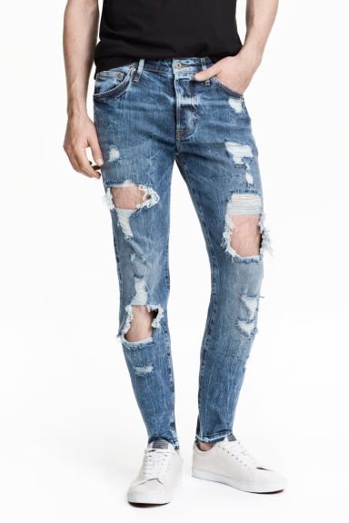 Skinny Low Trashed Jeans  - Denim blue - Men | H&M CN 1