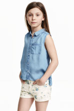 Sleeveless blouse - Light denim blue - Kids | H&M GB 1